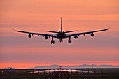 Airbus 340 Landing At Vancouver International Airport, Vancouver, British Columbia, Canada