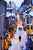 Petit-Champlain Street At Dawn In Quartier Petit Champlain, Quebec City Quebec Canada