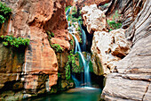 Arizona, Grand Canyon National Park, Vibrant view of Elves Chasim Waterfall.