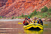 Arizona, Grand Canyon National Park, Friends and family rafting on the Colorado River. EDITORIAL USE ONLY.