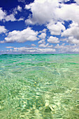Hawaii, blue sky and clear green water seascape.