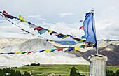 Prayer flags and symbols at top of King's Palace, Lo Manthang, Upper Mustang, Nepal
