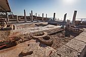 Roman columns and mosaic near Caesarea, Caesarea Maritima National Park, Israel