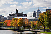Footbridge over the Bonsecours Basin with Bonsecours Market and City Hall, Old Montreal, Quebec, Canada