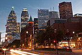 Front Street with financial district buildings, Toronto, Ontario, Canada
