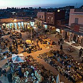 High angle view of the market at dusk, Marrakesh, Marrakech-Tensift-El Haouz, Morocco