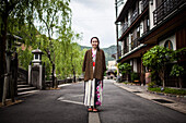 Young Woman Wearing Traditional Japanese Robe, Portrait, Kinosaki, Japan