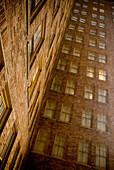 Tall Urban Building, Bricks and Windows, Abstract