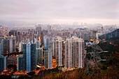 Cityscape with high-rise buildings in sunset, Hong Kong, China