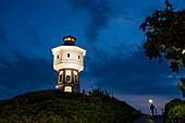 Water tower at dusk, landmark, Langeoog Island, North Sea, East Frisian Islands, East Frisia, Lower Saxony, Germany, Europe