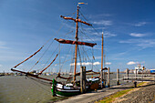 Old sailing boat in Norddeich harbour, Norden, Nationalpark, North Sea, East Frisian Islands, East Frisia, Lower Saxony, Germany, Europe