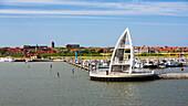 Juist harbour, Observation Tower, landmark, Juist Island, Nationalpark, North Sea, East Frisian Islands, East Frisia, Lower Saxony, Germany, Europe