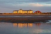 Spa Hotel at sunset, Juist Island, Nationalpark, North Sea, East Frisian Islands, East Frisia, Lower Saxony, Germany, Europe