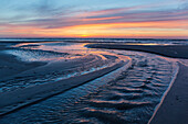 Beach at sunset, tidal creek, Juist Island, Nationalpark, North Sea, East Frisian Islands, National Park, Unesco World Heritage Site, East Frisia, Lower Saxony, Germany, Europe