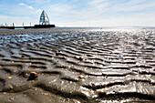 Mudflats and Observation Tower, landmark, Juist Island, Nationalpark, North Sea, East Frisian Islands, East Frisia, Lower Saxony, Germany, Europe