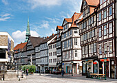 Holzmarkt with half-timbered houses and Kreuzkirche, Hannover, Lower Saxony, Germany