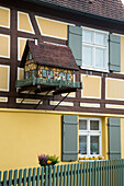 Timber frame building with pigeon house, Dinkelsbuehl, Franconia, Bavaria, Germany