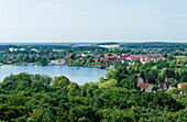 Lake Krakow and the town of Krakow am See, Mecklenburg-Western Pomerania, Germany