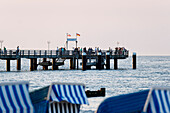 Pier in the evening, seaside resort of Kuehlungsborn at the Baltic Sea, Mecklenburg-Western Pomerania, Germany