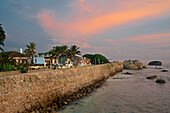 Walls of Galle Fort after sunset, UNESCO world heritage, Galle, Southwest coast, Sri Lanka, South Asia