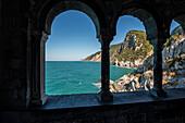 Arched windows, Church of St. Peter, Portovenere, province of La Spezia, Liguria, Italia