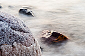 Salt encrusted stone in Dead Sea, Jordan, Middle East