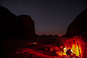 Night camp with campfire, Wadi Rum, Jordan, Middle East