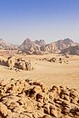 Desert landscape with rock formations, Wadi Rum, Jordan, Middle East