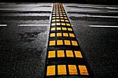Speed bump on road, Vallecas, Madrid, Spain