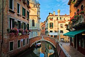Early morning in Venice, beautiful buildings, canals, a small square