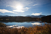 View over lake Forggensee to the Allgaeu Alps, Tegelberg, Allgaeu, Bavaria, Germany