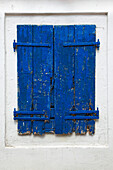Old and weathered window shutter, Lakones, Corfu island, Ionian islands, Greece