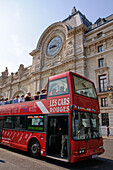 Musee d'Orsay and red tour bus, Paris, France, Europe