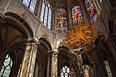 Interior view of the Saint Merri church, Paris, France, Europe