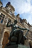 Town hall with sculpture, Hotel de Ville, Paris, France, Europe