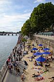 Beach along the river Seine, Paris, France, Europe
