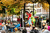 Street performers at Place du Marchee, Liege, Wallonia, Belgium