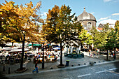 Cafes in Place du Marchee with Le Perron, Liege, Wallonia, Belgium