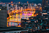 Cityscape with river Meuse, Liege, Wallonia, Belgium