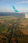 View from airplane (Air Dolomiti), river Isar at the Airport, Munich, Bavaria, Germany