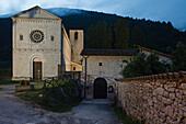 Abbazia di San Felice, church of the monastery, abbey, 12th century, Romanic, near Castel San Felice, Val di Nera, valley of Nera river, province of Perugia, Umbria, Italy, Europe