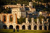 Teatro Romano, Roman theatre and Palazzo dei Consoli town hall, St. Francis of Assisi, Via Francigena di San Francesco, St. Francis Way, Gubbio, province of Perugia, Umbria, Italy, Europe