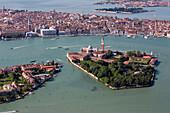 Aerial view of islands in the Venetian lagoon, Giudecca and San Giorgio Maggiore, San Marco, Veneto, Italy