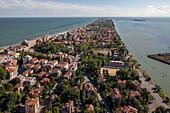 Aerial view of the Venetian Lagoon with beach, Island of Lido, Veneto, Italy
