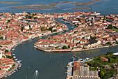 Aerial view of the Venetian Lagoon, Glassmakers, Island of Murano, Veneto, Italy