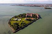 Aerial view of the Venetian Lagoon, Island of San Clemente, Venice, Veneto, Italy