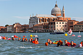 Cruise ship protest, demonstrators with boats and neopren wet suits protesting against the increasing numbers of cruise ships allowed into Venice, Venetien, Italy