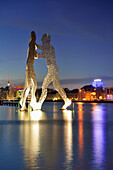 Illuminated artwork Molecule Man on the river Spree, artist Jonathan Borofsky, Berlin, Germany