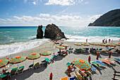 Beach, Monterosso al Mare, Cinque Terre, La Spezia, Liguria, Italy