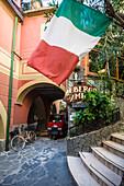 Italian flag, Monterosso al Mare, Cinque Terre, La Spezia, Liguria, Italy